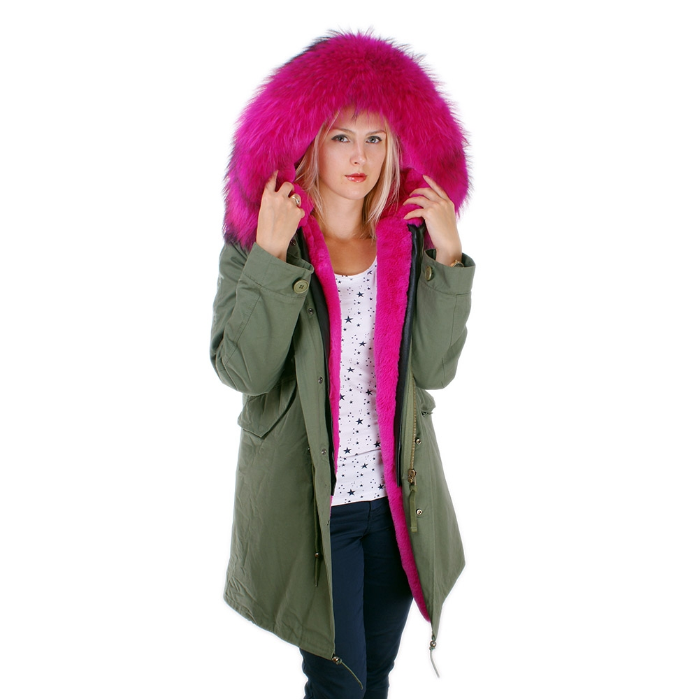 long women 39 s parka with pink raccoon fur hood trim fox. Black Bedroom Furniture Sets. Home Design Ideas