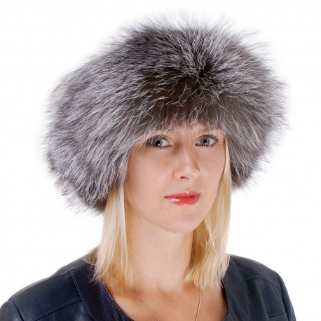 Women's Silver Fox Fur Roller Hat with Leather Top