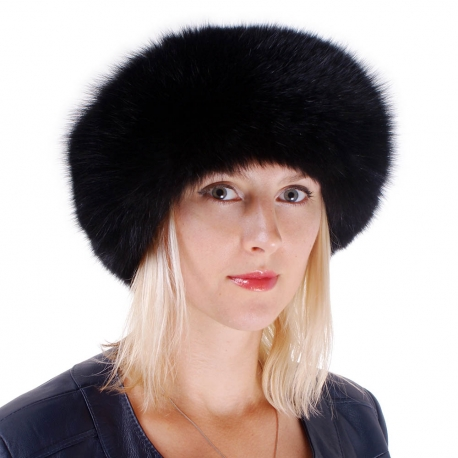 Women's Black Fox Fur Roller Hat with Leather Top
