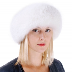 Women's White Fox Fur Roller Hat with Leather Top