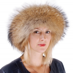 Women's Raccoon Fur Roller Hat with Leather Top