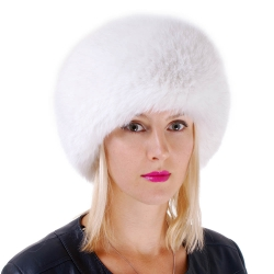 Genuine Women's White Fox Fur Roller Hat - Toque