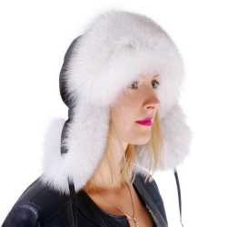 Blue Fox Fur Ushanka Hat with Leather Top