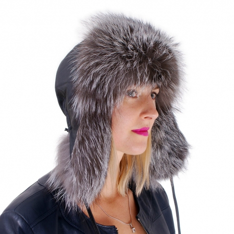 Silver Fox Fur Ushanka Hat with Leather Top