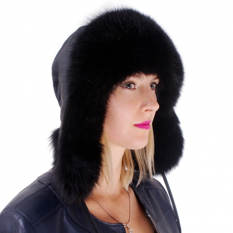 Black Fox Fur Ushanka Hat with Leather Top