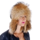 Raccoon Fur Ushanka Hat with Leather Top