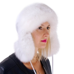 White Fox Fur Ushanka Hat with Leather Top