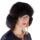 Brown Fox Fur Ushanka Hat with Leather Top