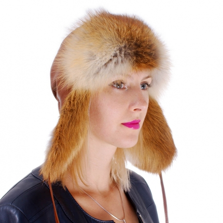 Genuine Red Fox Fur Ushanka Hat with Leather Top