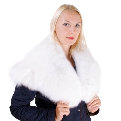 Genuine White Fox Fur Stole Cape Collar Wrap