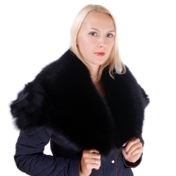 Genuine Black Fox Fur Stole Cape Collar Wrap
