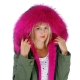 Long Women's Parka With Pink Raccoon Fur Hood Trim