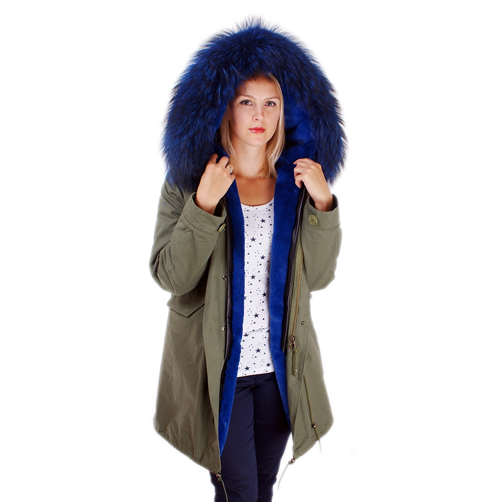 Long Women's Parka With Blue Raccoon Fur Hood Trim - FOX