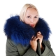 Long Women's Parka With Blue Raccoon Fur Hood Trim