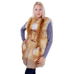 Genuine Red Fox Fur Vest Sleeveless Jacket of Fur