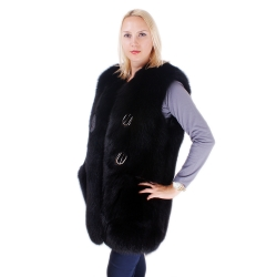 Genuine Black Fox Fur Vest Sleeveless Jacket of Fur