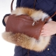 Genuine Red Fox Fur Hand Muff Bag With Pocket