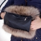 Genuine Raccoon Fur Hand Muff Bag With Pocket