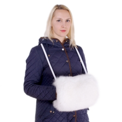 Genuine White Fox Fur Hand Muff Bag With Pocket