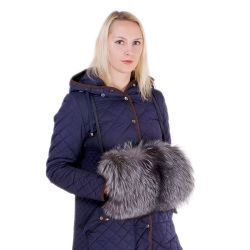 Genuine Black Fox Fur Hand Muff Bag With Pocket