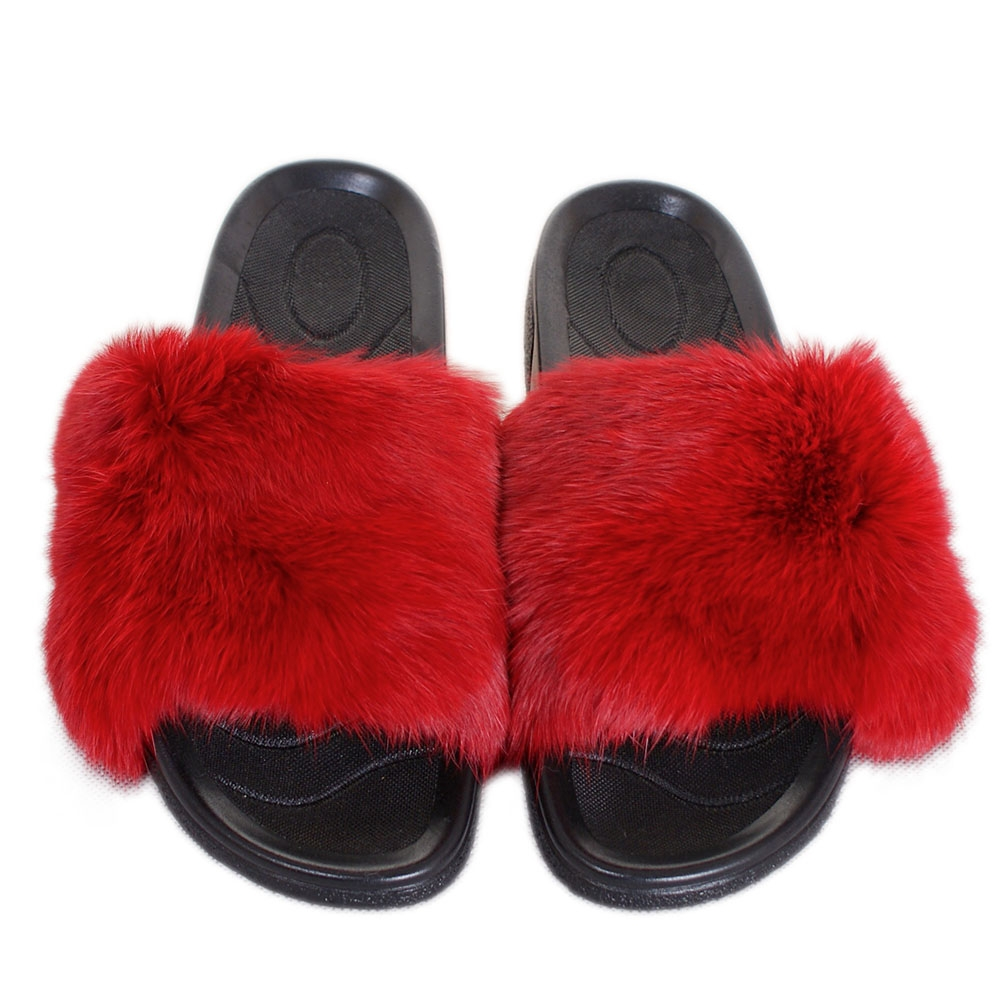 Stylish Women S Fur Slides Sandals With Red Rabbit Fur Fox