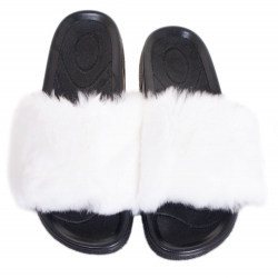 Women's Fur Slides, Sandals with White Rabbit Fur