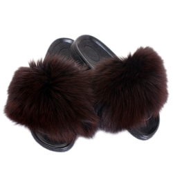 Women's Fur Slides, Sandals with Brown Fox Fur
