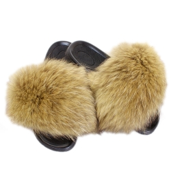 Stylish Yellow Fur Slides, Sandals with Raccoon Fur