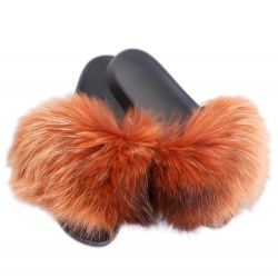 Stylish Orange Fur Slides, Sandals with Raccoon Fur