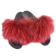 Stylish Red Fur Slides, Sandals with Red Raccoon Fur
