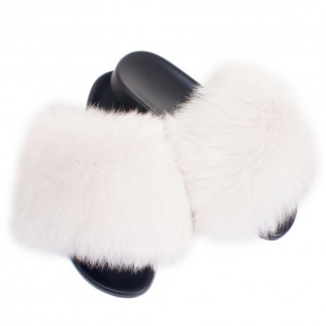 Women's Fur Slides, Sandals with White Fox Fur