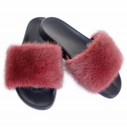 Stylish Women's Fur Slides, Sandals with Pink Fur