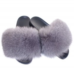 Women's Ashen Fur Slides, Sandals with Grey Fox Fur