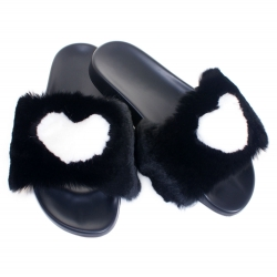 Women's Fur Slides, Sandals with Black & White Fur