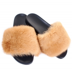 Women's Fur Slides, Sandals with Gold Rabbit Fur