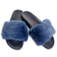 Stylish Women's Fur Slides, Sandals with Blue Mink Fur