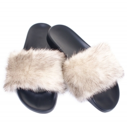 Stylish Women's Fur Slides, Sandals with Mink Fur