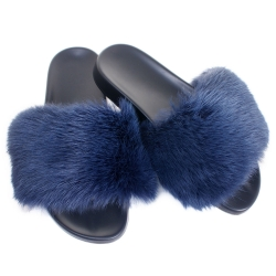 Women's Fur Slides, Sandals with Navy Blue Rabbit Fur