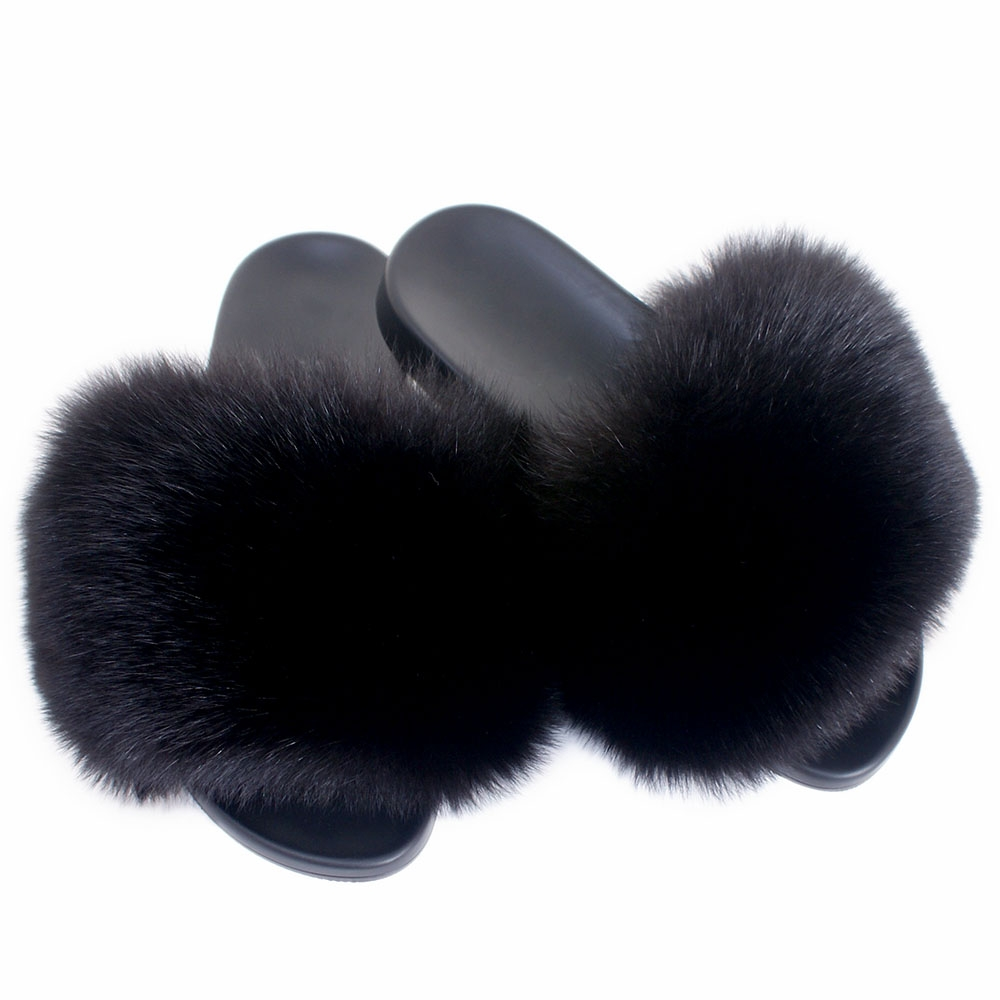 women 39 s fur slides sandals with black fox fur fox. Black Bedroom Furniture Sets. Home Design Ideas