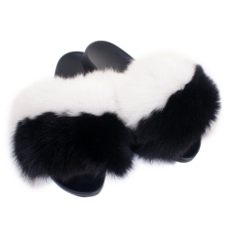 Women's Fur Slides, Sandals with White-Black Fox Fur