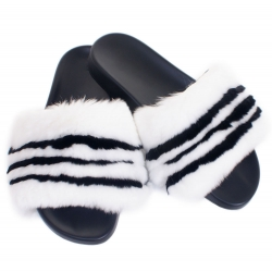 Women's Fur Slides, Sandals with White & Black Fur
