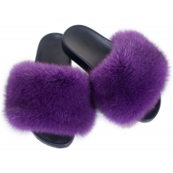 Women's Fur Slides, Sandals with Purple Fox Fur