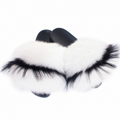 Women's Fur Slides, Sandals with White-Black Fur