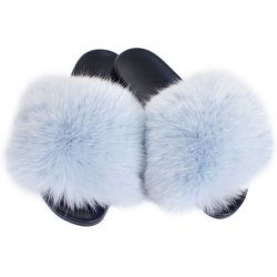 Women's Fur Slides, Sandals with Light Blue Fox Fur
