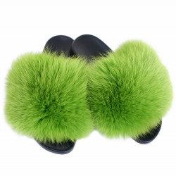 Women's Fur Slides, Sandals with Green Fox Fur