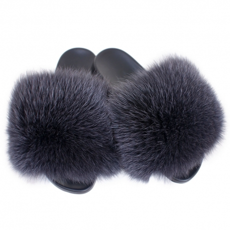 Women's Fur Slides, Sandals with Graphite Fox Fur