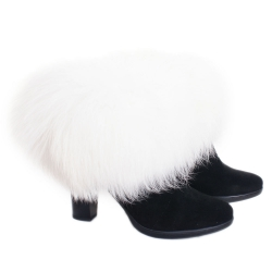 White Raccoon Fur Boots Covers Fur Shoes Sleeves