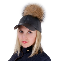 Leather Baseball Cap with Raccoon Fur Pom Pom