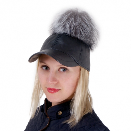 Leather Baseball Cap with Silver Fox Fur Pom Pom