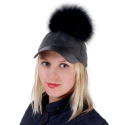 Leather Baseball Cap with Black Raccoon Fur Pom Pom
